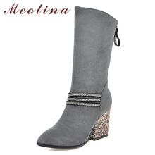 Купить с кэшбэком Meotina Winter Mid Calf Boots Women Rhinestone Thick Heels Boots Glitter Zipper Pointed Toe Shoes Ladies Autumn Plus Size 33-43