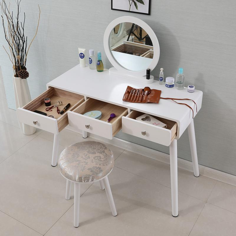 concise 3 drawer vanity makeup dressing table with mirror dresser chair white makeup vanity table jewelry storage cabinet hwc