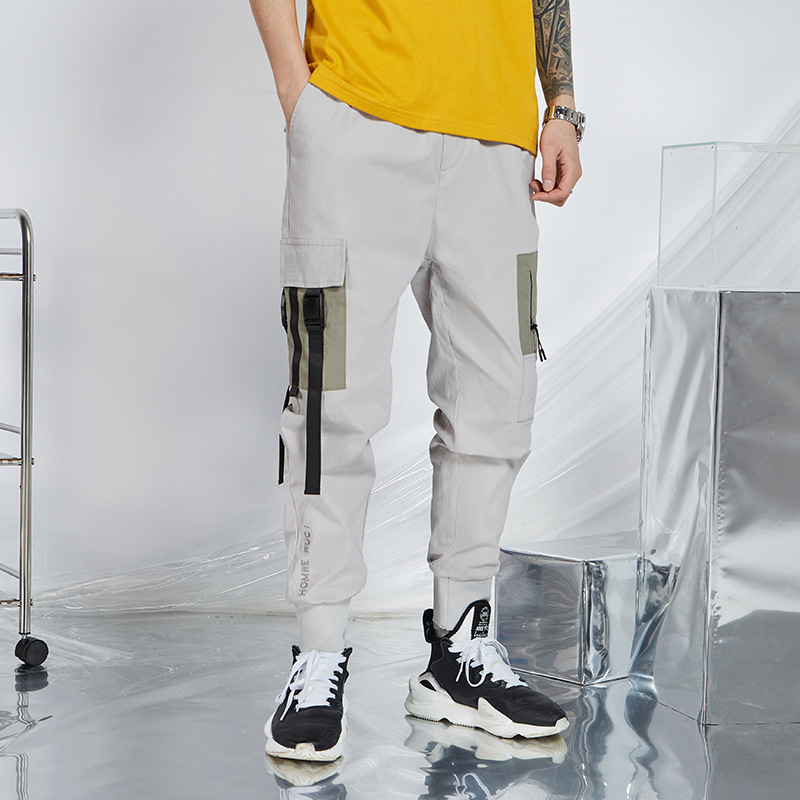 Casual Pants Men 's New Multi- bag Ankle-length Pants 's Fashion Spring and Summer Cotton and Linen YOUTH Cargo Pants Overalls 2