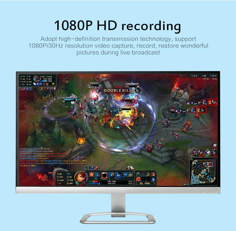 Новая карта захвата видео HDMI 3,5 мм аудиовыход микрофон в циклическом корпусе для записи игр HD USB 2,0 для ПК