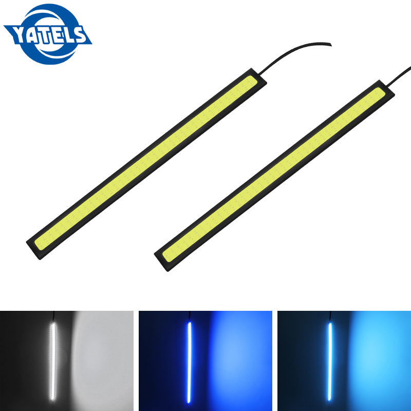 2 PCS 14cm DC 12V COB LED DRL Driving Daytime Running Lights Strip Waterproof Car Styling LED Lamp Auto Car Working Light Z2