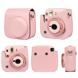 Image 5 - Besegad Pure Color PU Leather Storage Carrying Protective Pouch Bag Case with Shoulder Strap for Fujifilm Instax Mini 8 8+ 9