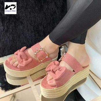 2020 Summer Hot Girls Sandals Buckle Platform Hemp Rope Large Bow Slipper wedges shoes for women  platform sandals