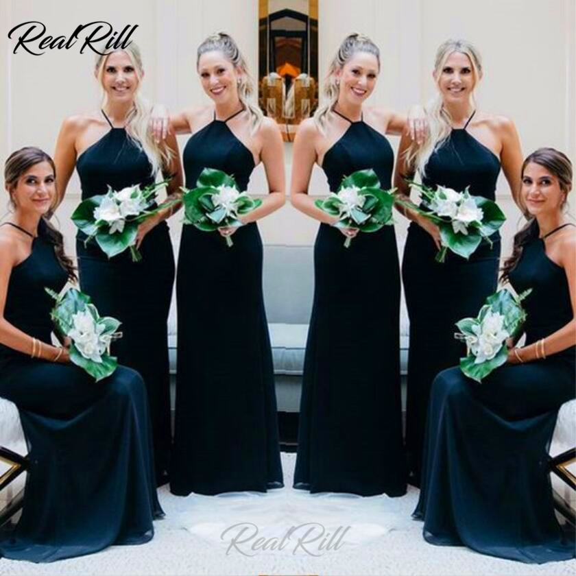 Real Rill Spaghetti Straps   Bridesmaid     Dresses   Lace Up Backless A Line Chiffon Formal   Dresses   Prom   Dress