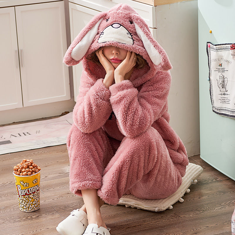 Winter Animal Thick Women Pajamas Set Sleepwear Warm Long Sleeves Female Pyjamas Sets Pink Cute Homewear Home Suit