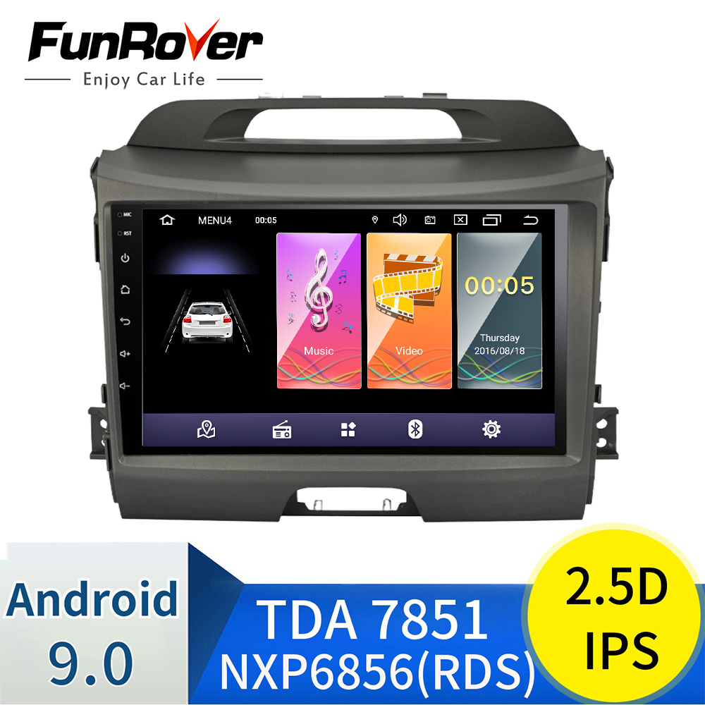 FUNROVER 2.5D+IPS Car Radio Multimedia DVD Player Android 9.0 Navigation For KIA Sportage 2011-2015 Recorder Stereo Headunit Gps