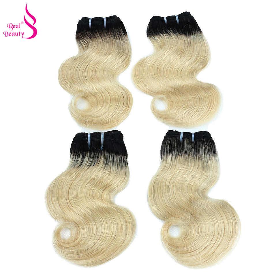 Belleza Real 4 paquetes de pelo lacio brasileño paquetes de extensiones de cabello humano cabello no Remy envío gratis Se puede teñir