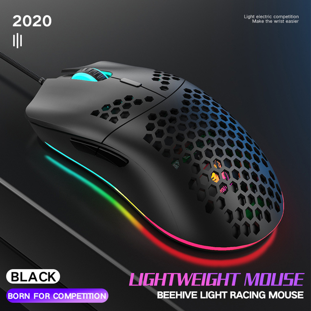 Lightweight Universal 7 Keys Honeycomb Shell 12000 DPI Ergonomic Design Wired E Sports Practical Computer Accessory Gaming Mouse