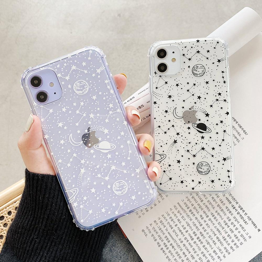 Mignon espace planète étui de téléphone transparent pour Huawei P40 P30 Lite p20 pro mate 40 30 20 nova 5t P intelligent pour Honor 10 20 30 8x 9x couverture