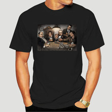 Получите вниз арт Для мужчин гангстеры игры в покер Футболка-Scarface Крестный отец футболка черного цвета подарок прикольные футболки, Shirt-0157D