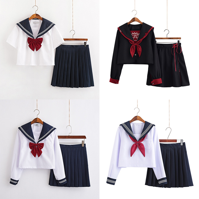 White School Dresses Lady Jk Uniforms Sailor Suit Anime Japanese School Uniform For Girls High School Students Pleated Skirt