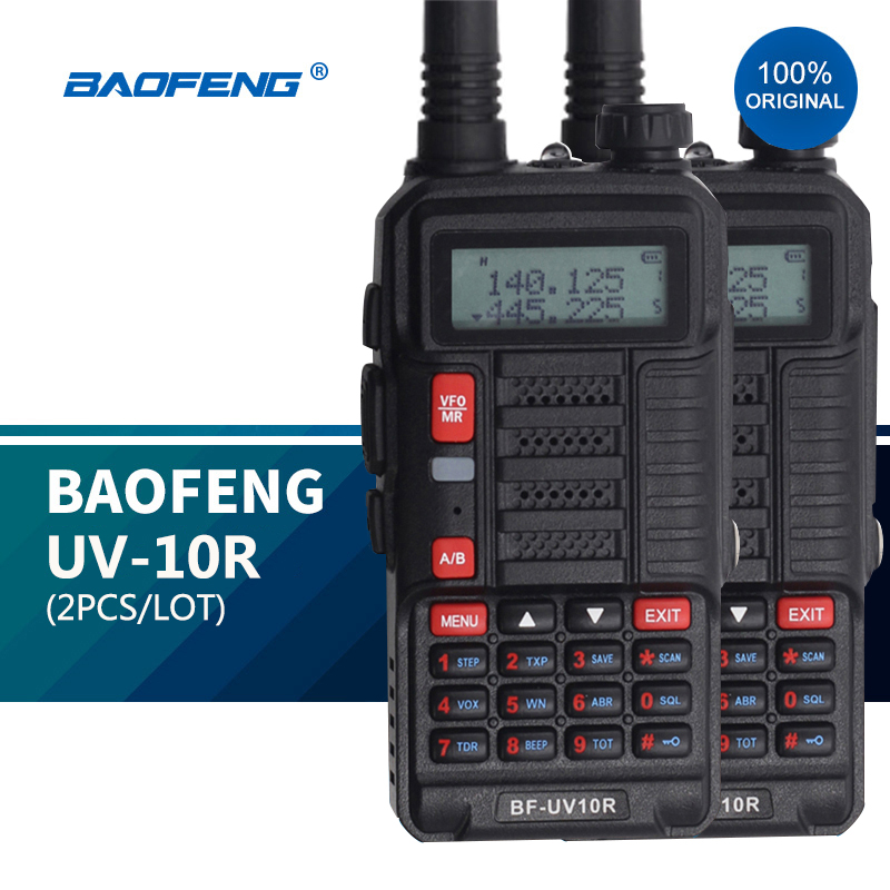 2 шт. Baofeng UV 10R Профессиональные Walkie Talkies Высокая мощность 10 Вт двухдиапазонный 2-полосный CB Ham радио hf трансивер VHF UHF BF UV-10R Новый