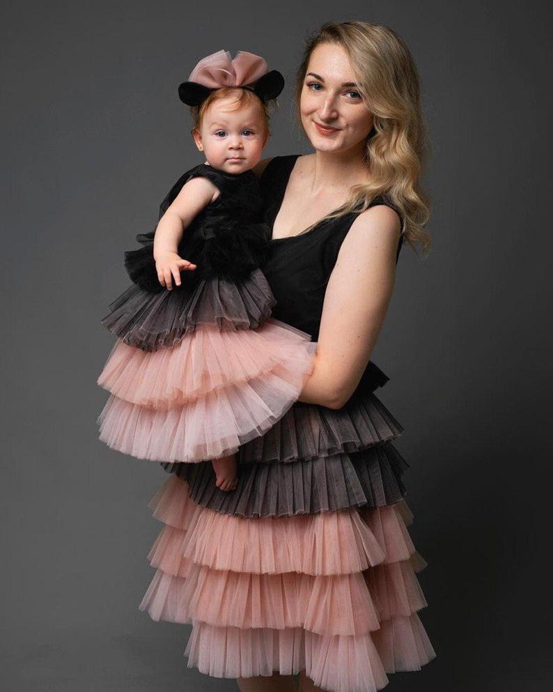 Infant Baby Girl First Birthday Party Gowns Fluffy Mom and Daughter Matching Dresses Custom Made