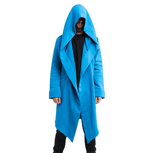 Men Autumn Winter Hoodies Long Cardigan Coat Casual New Hip Hop Solid Jacket Pockets Male Hooded Outwear Clothing Streetwear 5XL