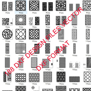 Image 4 - 188 metal door window decor hollow sheet dxf format 2d vector design drawing for CNC laser plasma cutting files collection