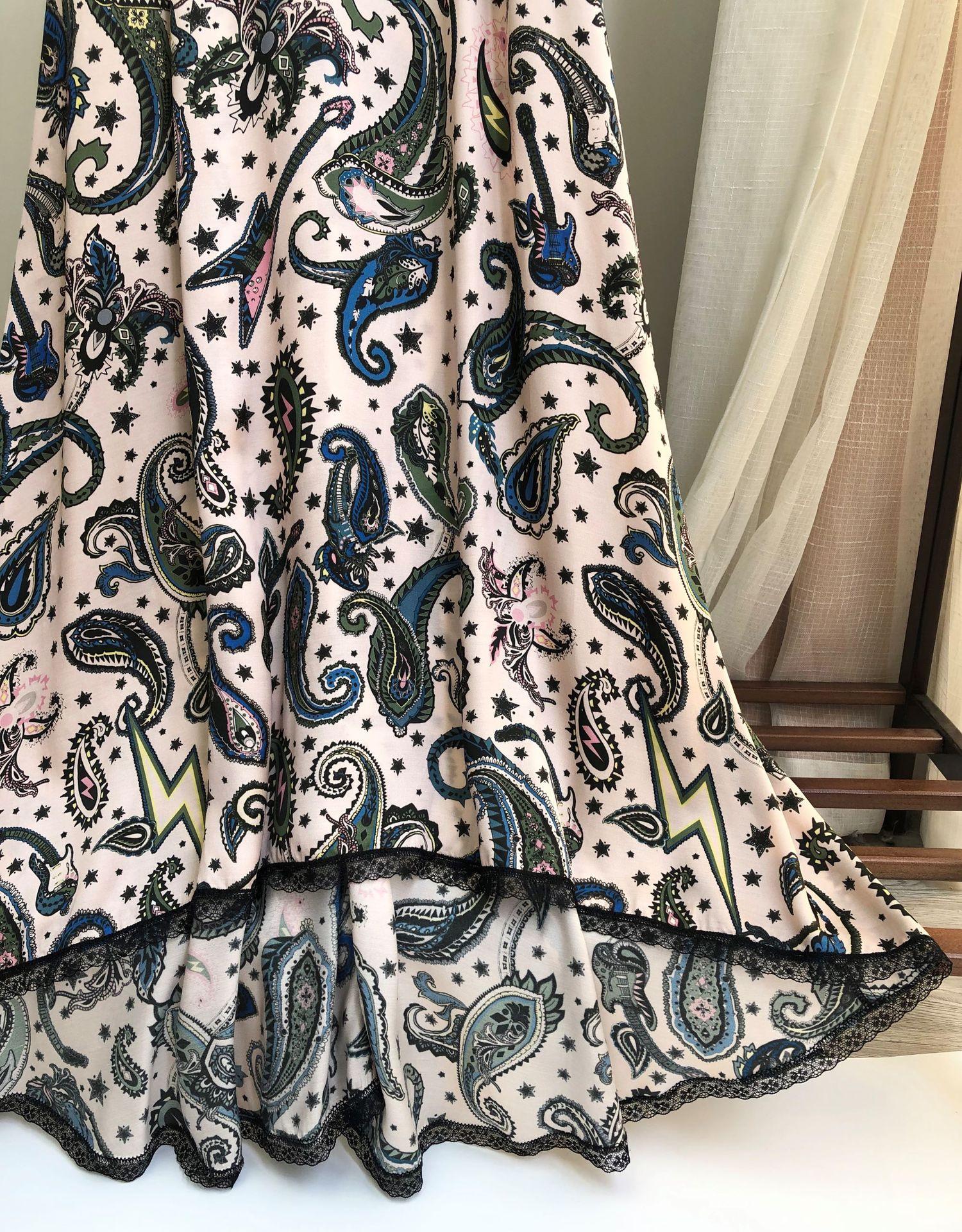 Image 5 - Women Dress 100% Viscose  Romantic Print Cashew Printed Halter Lace Midi DressDresses
