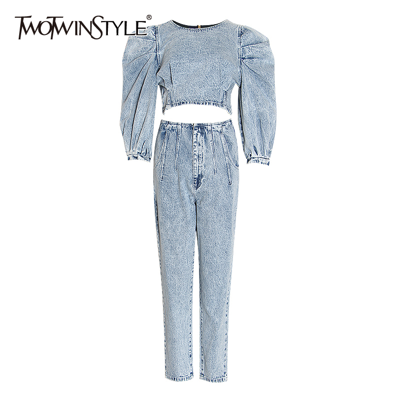 TWOTWINSTYLE Damin Two Piece Set For Women Ruched Puff Three Quarter Sleeve Blouses High Waist Loose Pants Female Suit 2020 Tide