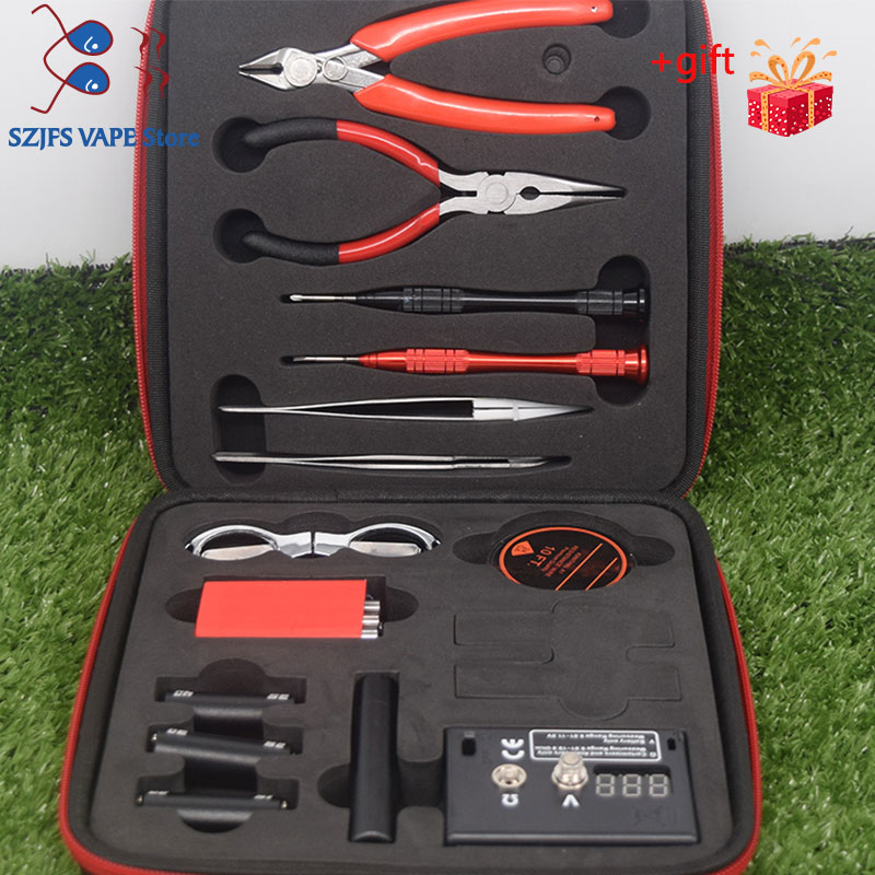 Newest Vape Tool Kit Combo Set Full Master DIY Kit V3 V2 MIN X9 Jig Meter Tweezers Heat Wire Pliers Cotton Vape Accessories