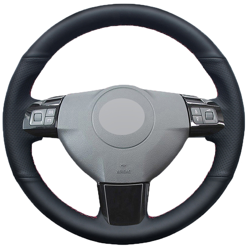Black Faux Leather Car Steering Wheel Cover for Opel Astra (H) Signum Corsa 2004-2009 Zaflra (B) 2005-2014 Vectra (C) 2005-2009