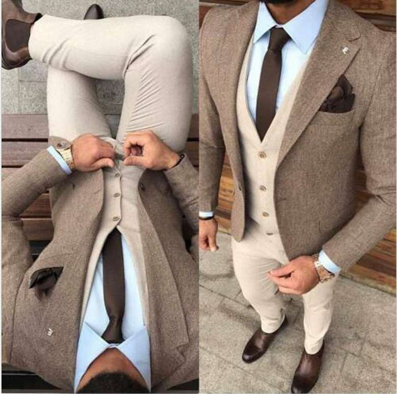 Winter Thick Steel Tweed Man Business Suits Slim Fits Men Prom Party Coat Waistcoat Trousers Sets Groom Tuxedos NO:2099