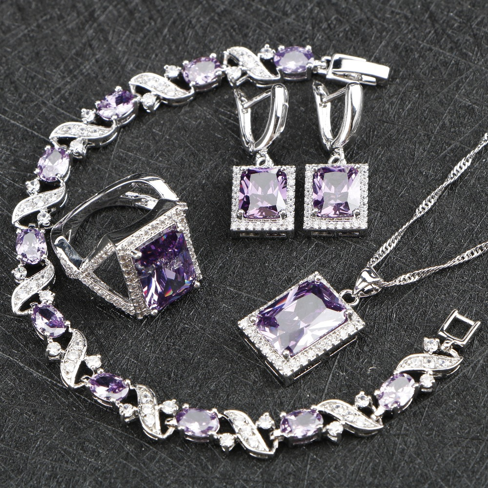 Women's Silver 925 Jewelry Sets AAA+ Purple Stones White CZ <font><b>Necklace</b></font> <font><b>Earrings</b></font> <font><b>Ring</b></font> <font><b>Bracelets</b></font> Costume sets Free Jewelry Box image