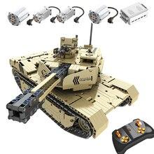 Rcビルディングブロックタンクのおもちゃ 9801 M1A2 1276 個軍軍事リモートコントロール 50 メートルの距離構築ブロックレンガのおもちゃrcカーのギフト子供
