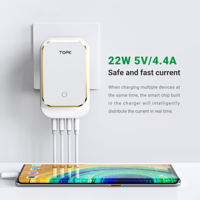 TOPK 4-Port 4.4A(Max) 22W EU USB Charger Adapter LED Lamp Auto-ID Portable Phone Travel Wall Charger for iPhone Samsung 4