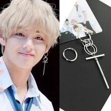 цена на Oly2u Korean Style Bangtan Boys Kim Tae Hyung Fashion Asymmetric Geometric Long Circle Kpop Earings for Men Women Aretes