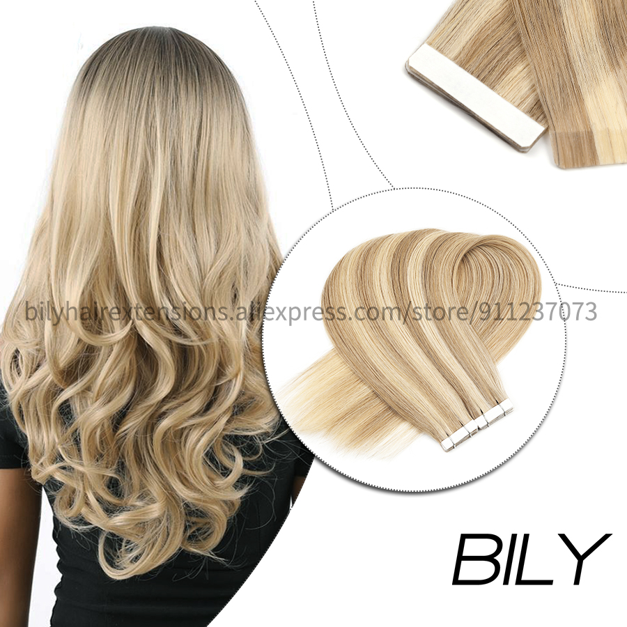 Bily Straight Invisible Tape In Human Hair Extensions Machine Remy Skin Weft Ombre Double Side Tape On Natural Hairpiece 10