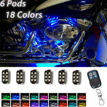 New 36LED Super Bright 5050 SMD RGB LED Motorcycle Pod Light Ground Effect Kit Remote Control Set For Car Auto Internal#293546(China)