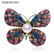 ZHBORUINI High Quality Natural Freshwater Pearl Brooch Vintage Butterfly Jewelry For Women Gift Accessories