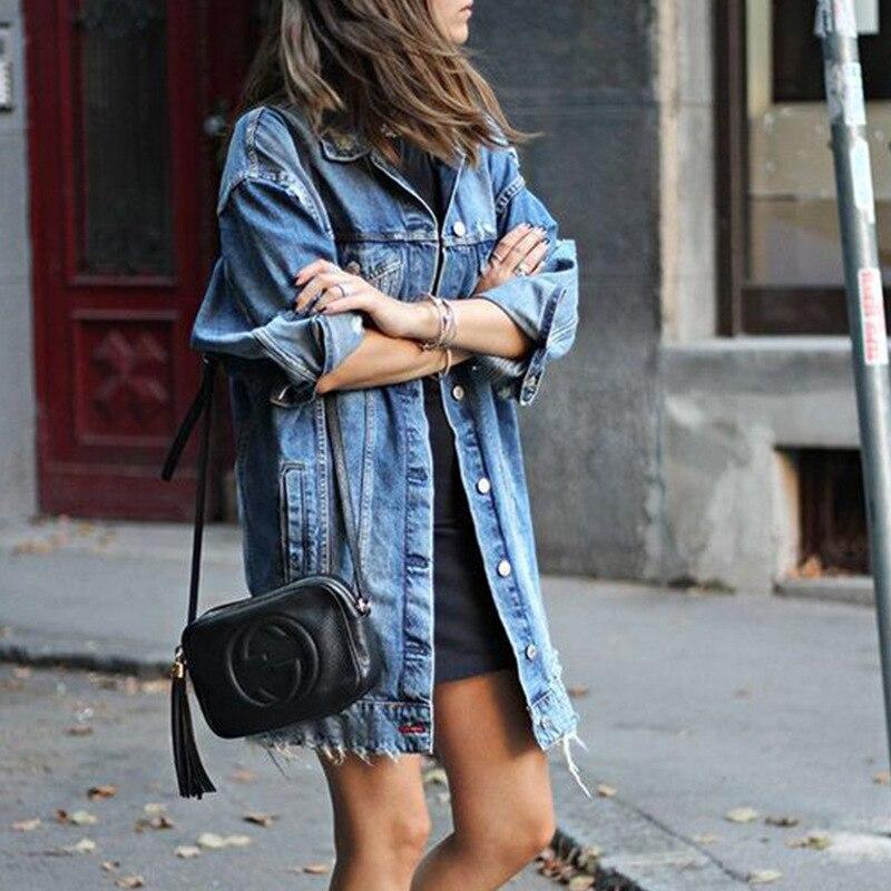 Европейская американская элегантная женская длинная джинсовая куртка пальто плюс размер отверстия дизайн женская Повседневная Верхняя од