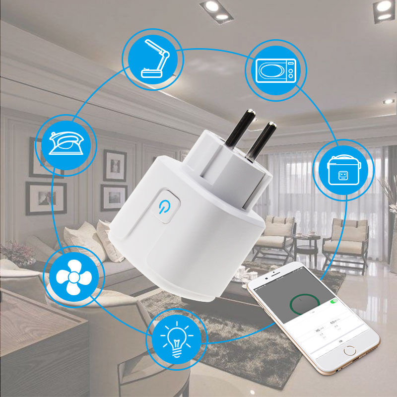 <font><b>EU</b></font> Smart Wifi Plug Adapter Power <font><b>Socket</b></font> With Timer Outlet <font><b>Remote</b></font> Wifi Plug Support Alexa Google Home 16A with Power Monitoring image
