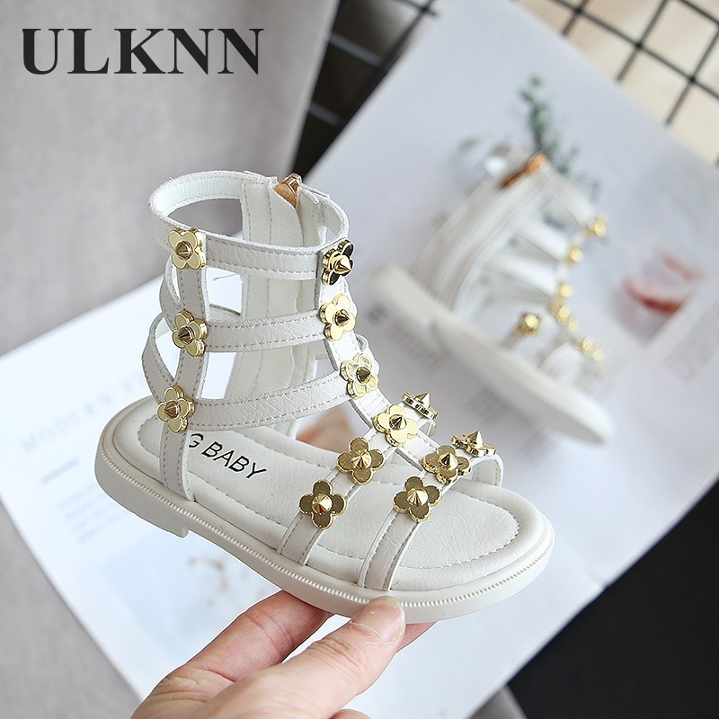 Sandals For Kid's 2020 New Fashion White Roman Shoes Open Toe Mid-top Princess Little Girl Flower Decoration Pink Zipper Flat PU