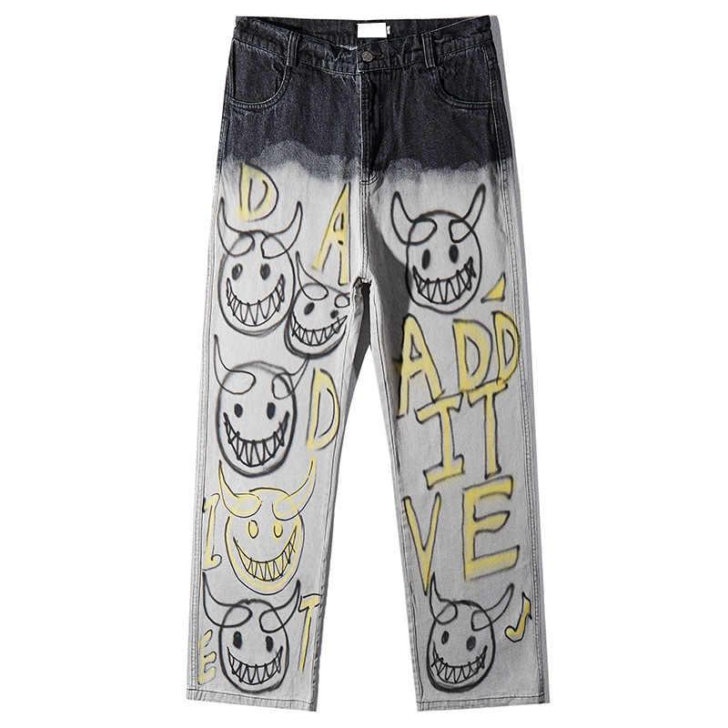 UNCLEDONJM grafiti kot erkekler mektup denim kot pantolon yok streç Slim Fit Hop Hop pantolon gevşek fit denim jean AD-1981
