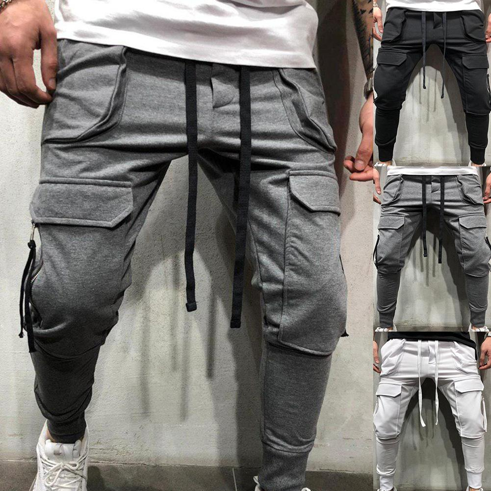 Sporty Men Solid Color Drawstring Multi-pockets Cargo Pants Sports Pants Fashion Street Pants