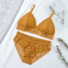 Seamless Underwear Bra-Sets Lingerie Intimates Padded Bralette Lace Sexy Women Ultrathin