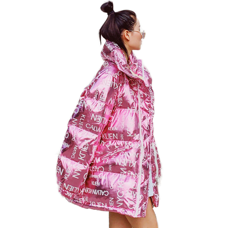 New Winter Down Jacket Women Thick Print Plus Size Letter Sweet Pink/Red Jacket Glossy Cotton Coats Females Warm Parka Overcoat