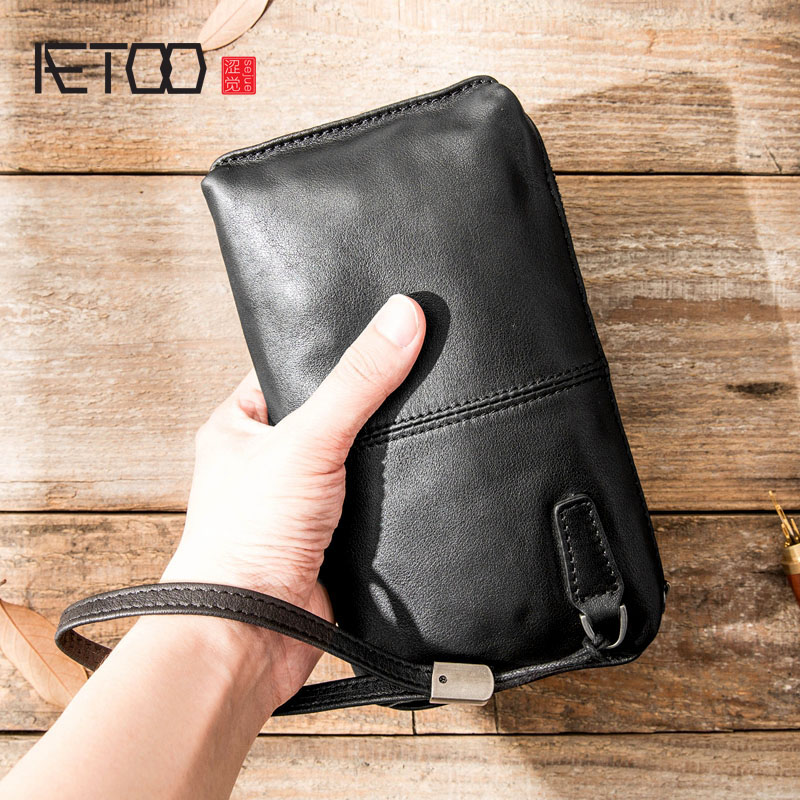 AETOO Leather Handbag Men's Soft Leather Retro Casual Long Wallet Men's First Layer Leather Zipper Wallet Phone Bag Female Vinta