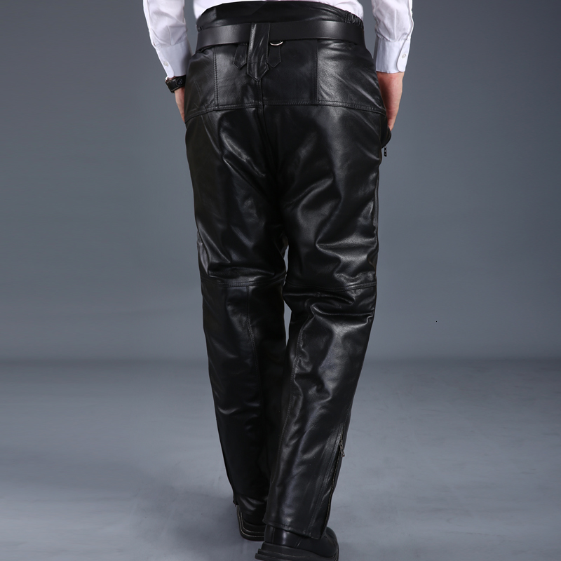 2020 New Fashion Mens Genuine Leather Cow Fur Lining Long Pants Male Trousers Pantalon Homme Pantacourt Homme Winter Plus Size