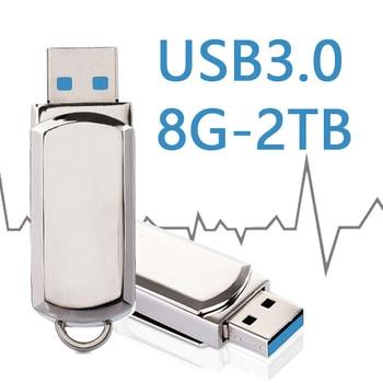 HOT USB 3.0 Flash Drive 32/64/128GB Pen Drive 16GB 8GB Keychain Memory Stick Metal Pendrive 1TB 2TB Classic Design USB Gadget