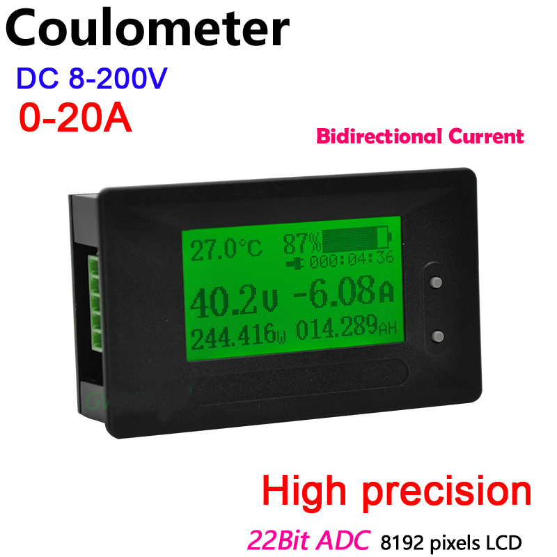 Dykb DC 200V 20A Coulometer Voltage Current Power Capacity METER Battery Indicator Monitor Lithium Li-ion Lifepo4 Lead Acid