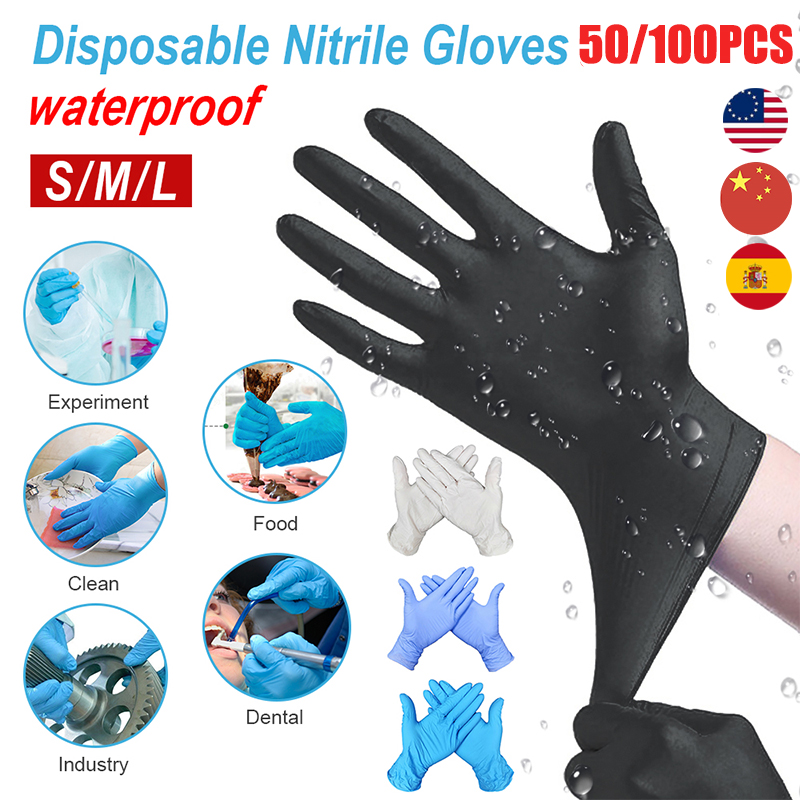 50/100PCS Disposable Latex Gloves Non-Slip Acid And Alkali Laboratory Rubber Latex Gloves Household Cleaning Products