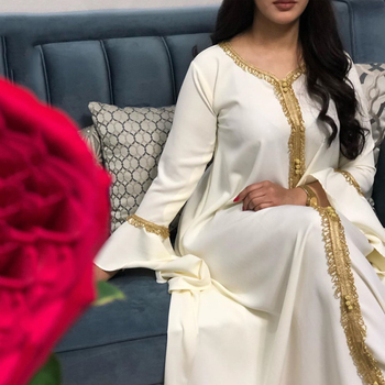MD Arabic Dress Tassel White Abaya Women Djellaba Muslim Fashion Islamic Clothing For Girls Lotus