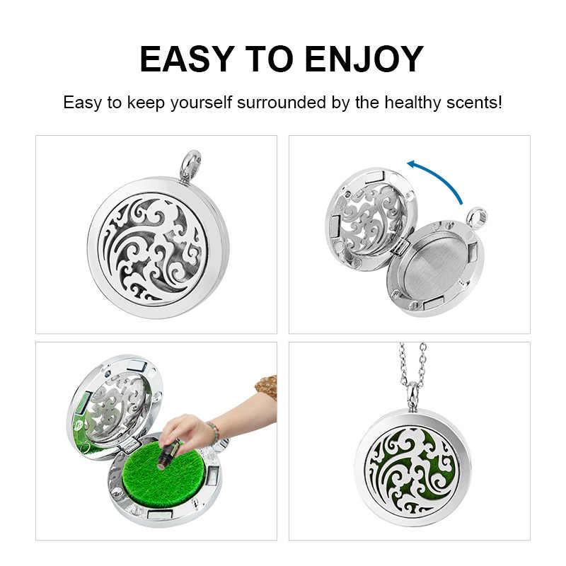 1 adet Aroma madalyon kolye ile 10 adet pedleri manyetik paslanmaz çelik aromaterapi uçucu yağ difüzörü parfüm Locket kolye