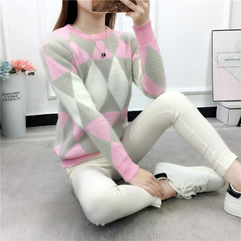 2019 Female Pullovers Winter Sweater Fashion Women Spring Autumn Pullover Long Sleeve Plaid Casual Ladies Sweaters 1