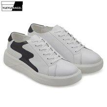 Zapatos blancos casuales de lujo para hombre Zapatos de plataforma con punta redonda