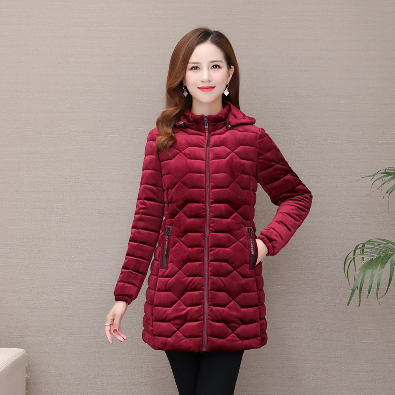 Gold Velvet Cotton-padded Clothes Women's Mid-length 2019 Winter New Style Korean-style Middle-aged Cotton-padded Jacket Coat Th
