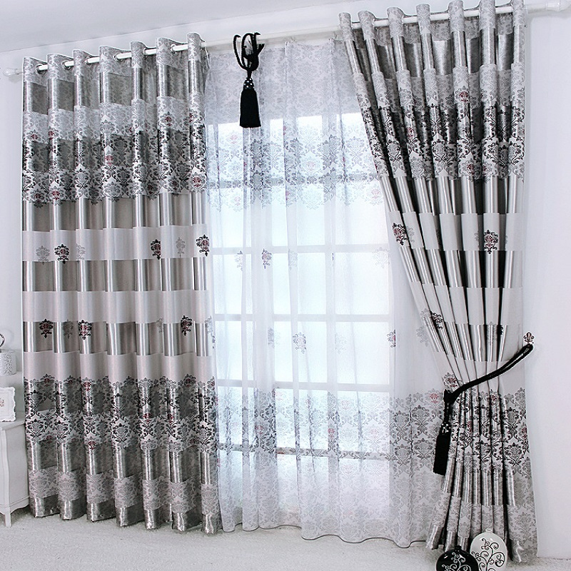 1 pc New Curtains for Windows Drapes European Modern Elegant Noble Printing Shade Curtain For Living Room Bedroom(China)