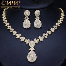 CWWZircons Nobile Micro Pavimenta Cubic Zirconia Pietre Di Lusso Dubai Oro di Colore Da Sposa di Cerimonia Nuziale Della Collana Set di Gioielli per Le Donne T157